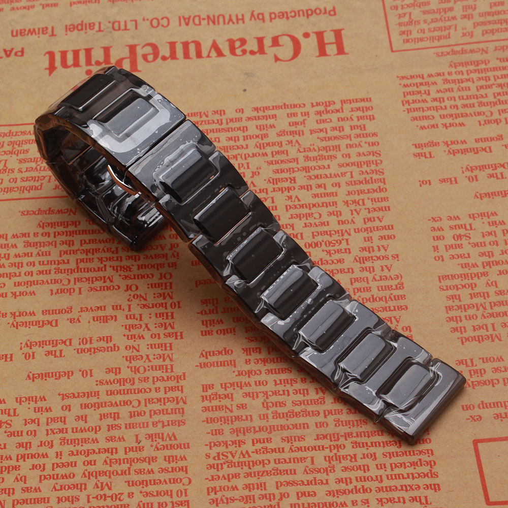 14 16 18 20 22MM Black Ceramic Watchband watch band straps Fashion Watch accessories Polish fit