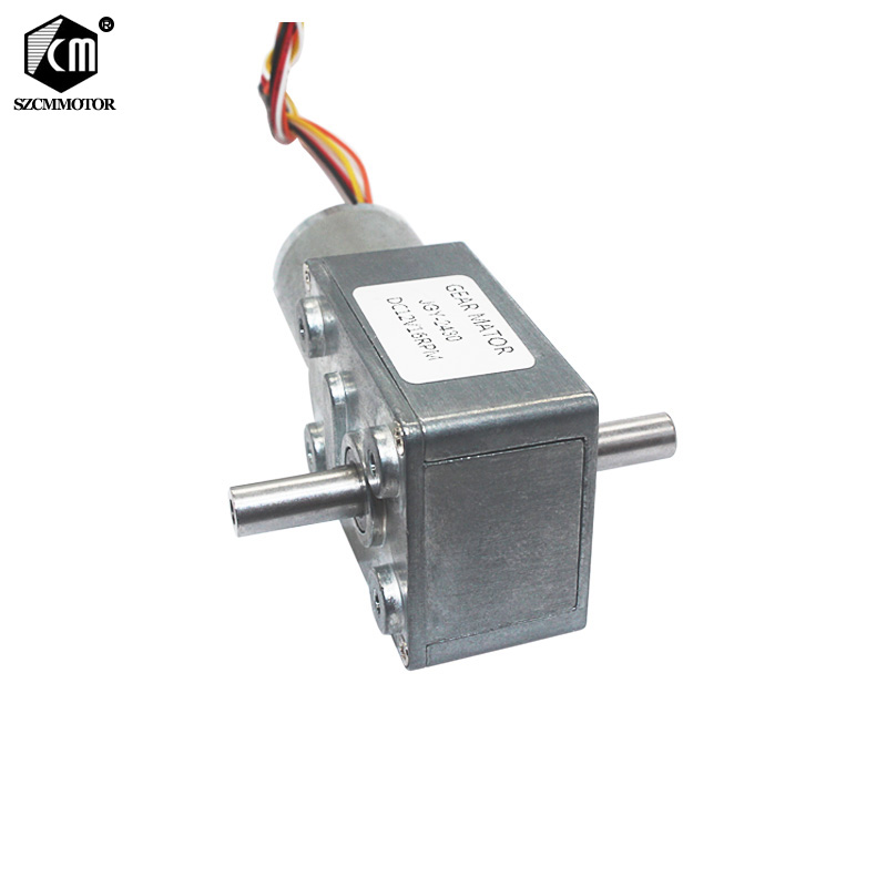 Slow Speed Silent Long Life Brushless DC Turbo Worm Gear Motor Dual Shafts High Torque BLDC Worm Geared Motor JGY370-2430DSlow Speed Silent Long Life Brushless DC Turbo Worm Gear Motor Dual Shafts High Torque BLDC Worm Geared Motor JGY370-2430D