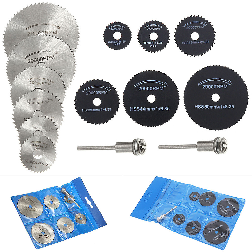 14pcs/set HSS Circular Saw Blade Cutting Discs Rotary Wheel Wood Metal Cutter Power Tool Kit With Connecting Shank Drill Mandrel