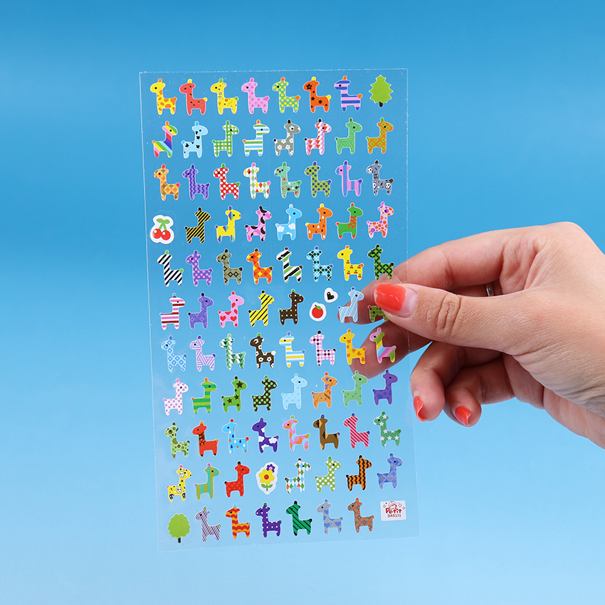 1PC Giraffe Owl Print Memo Sticker Cute Drawing Market Diary Transparent Scrapbooking Calendar Album Decor Sticker