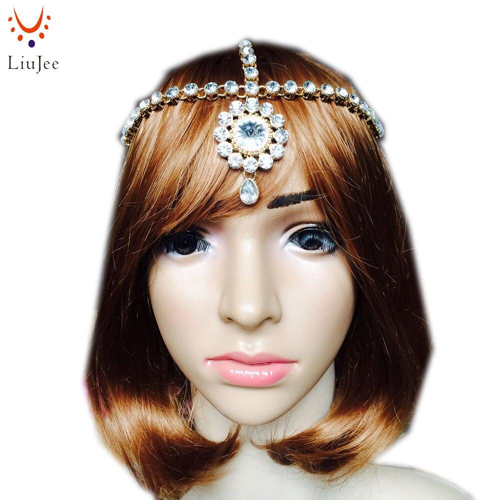 LiuJee KD118 Clear Kundan Matha Patti Tikka Head Chain Hair Bollywood Indian Jewelry Grecian Hijab Bridal Wedding Parties Prom