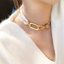 New Design Pearl chunky Metal Connection Multi-layer Necklaces Womens Clavicle Chain Choker Collares punk accessories