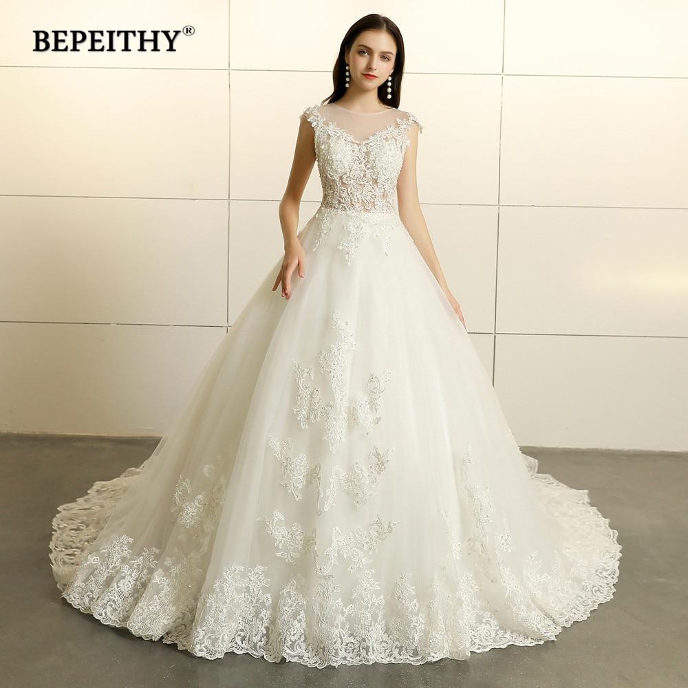 Robe De Mariee Princess Lace Wedding Dresses Sleeveless 2019 Court Train Vestido De Novian Vintage Bridal