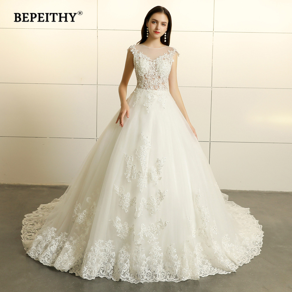 Robe De Mariee Princess Lace Wedding Dresses Sleeveless 2020 Court Train Vestido De Novian Vintage Bridal Gowns Hot Sale
