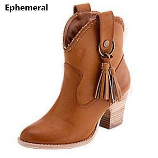 Bayanlar botas zapatos mujer püskül yüksek topuklu ayakkabı pompaları sivri burun kalın topuk kısa çizmeler sonbahar artı boyutu 46-34 gri sarı