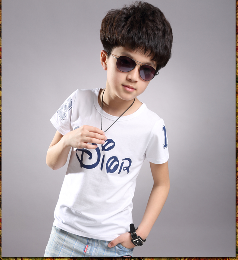 New 2016 Beauty Boy Autumn And Spring Print Kids Baby Boy Short Sleeve T Shirt Children Fashion Tees T Shirt Ages 2-12Y