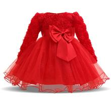Newborn Girls 1st 2nd Birthday Dresses Long Sleeve Tulle Tutu Dress Baby Girl Party Pageant Clothing Dress vestido menina