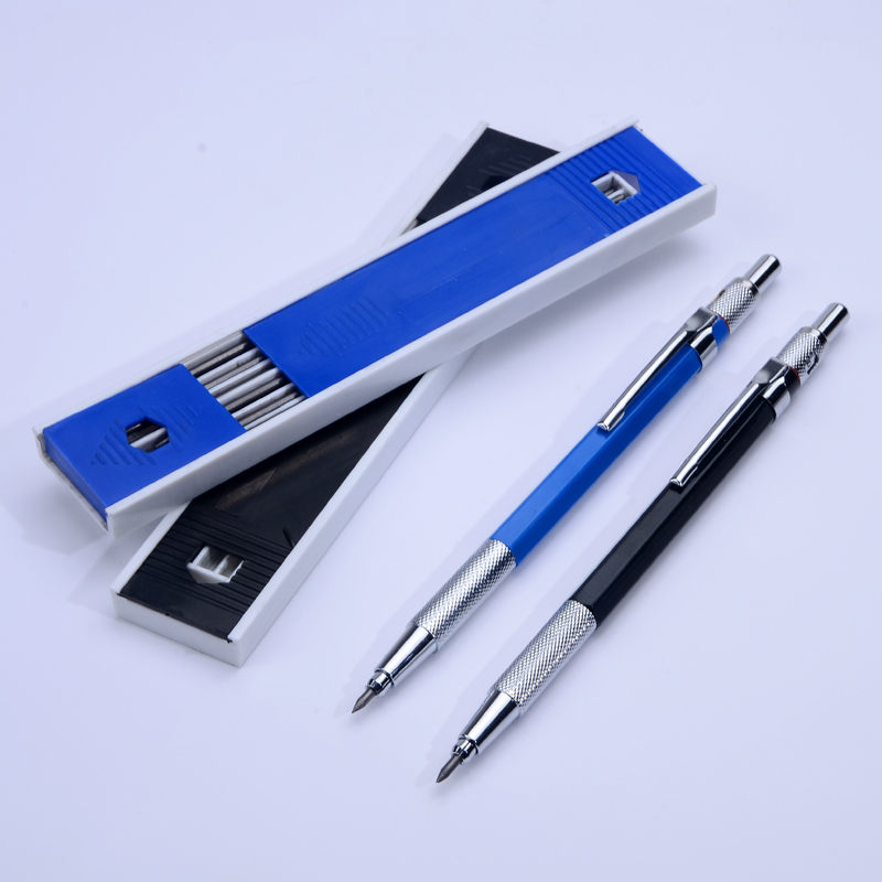 Metal Mechanical Pencils 2.0 mm 2B Lead Holder Drafting Drawing Pencil Set with 12 Pieces Leads Writing School Gifts Stationery