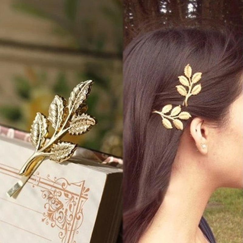 US $0.67 24% OFF|2pcs Golden 5 leaf hairpin fashion bridal headdress olive leaf tree leaves hairclip hair accessories for women girls-in Women