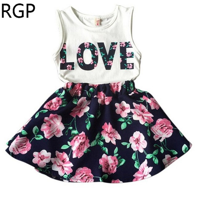 21ea3608 2019 New Fashion Cute Baby Girls Clothes Set Summer Sleeveless T-Shirt Top  and Floral Skirt 2PCS Little Girls Outfit Dress Set