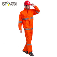 SFVest Mens Women High Good Quality Rainwear Reflective Safety Rainsuit Jacket And Trousers Split Raincoat Free