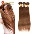 Brasileiros retas cabelo 3 pacotes 7a não transformados pacote cabelo virgem lida 8-26 polegada marrom escuro eli queen beleza cabelo