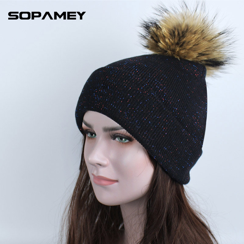 New Winter Knitted Hat for Women Beanies Real Mink Fur Hats with Pompon Snowboard Mask Hats for the Girl Autumn Bone Gorro 2017 ha117 new stripe autumn winter beanies with big fox raccoon fur pompon genuine mink black brown gray fur hats