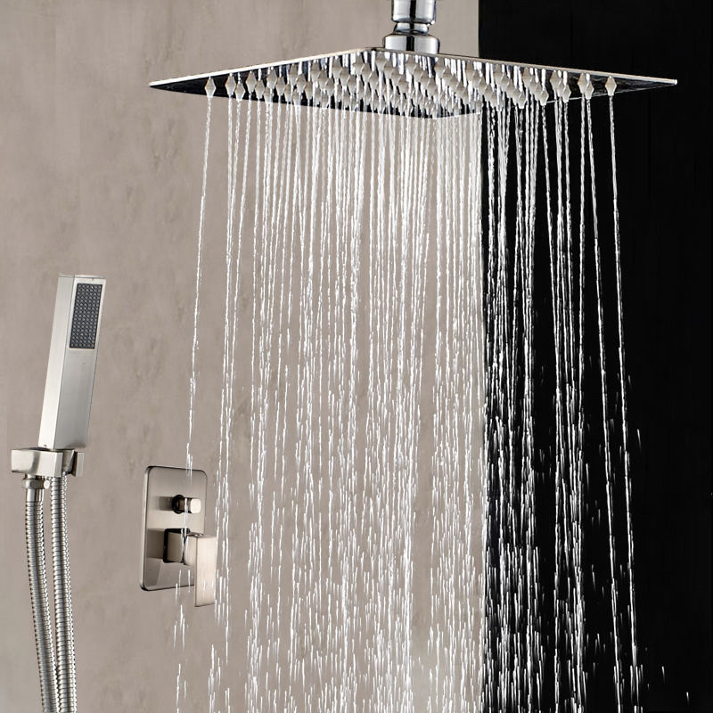 8 10 12 16 Ceiling Mounted Shower Faucet Brushed Nickel Mixer Tap W Hand Shower Sprayer