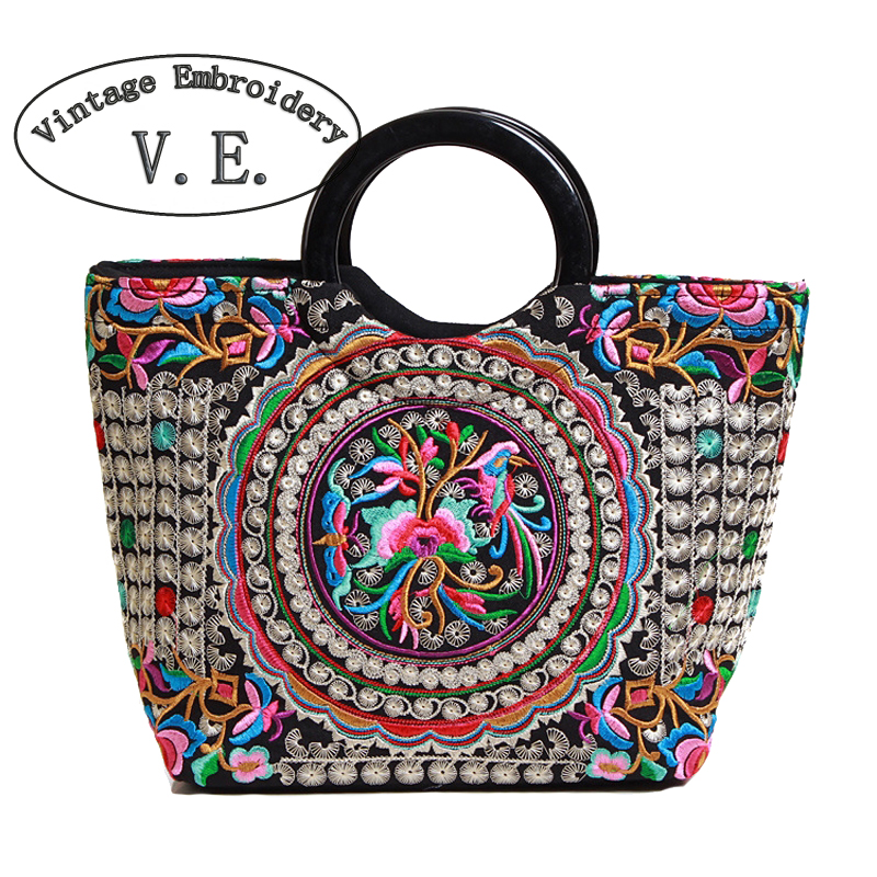 Vintage Embroidery Womens Handbag Retrao Canvas Flower Embroidered Boho Women Totes Bolsas Feminina Designer Women Shoulder Bag vintage embroidery women flats chinese floral canvas embroidered shoes national old beijing cloth single dance soft flats