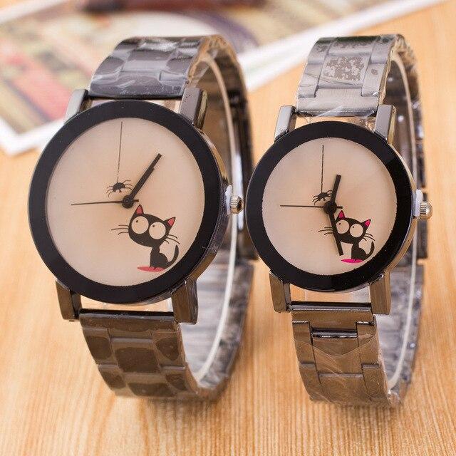 Cute Cat Dial Brown Glass Lovers' Watch Quartz Clock Timer Wristwatch for Women