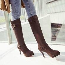 หัวเข็มขัดแฟชั่นหญิงเข่าบู๊ทสูงรอบแพลตฟอร์มเท้าส้นสูงผู้หญิงรองเท้าฤดูหนาวยาว