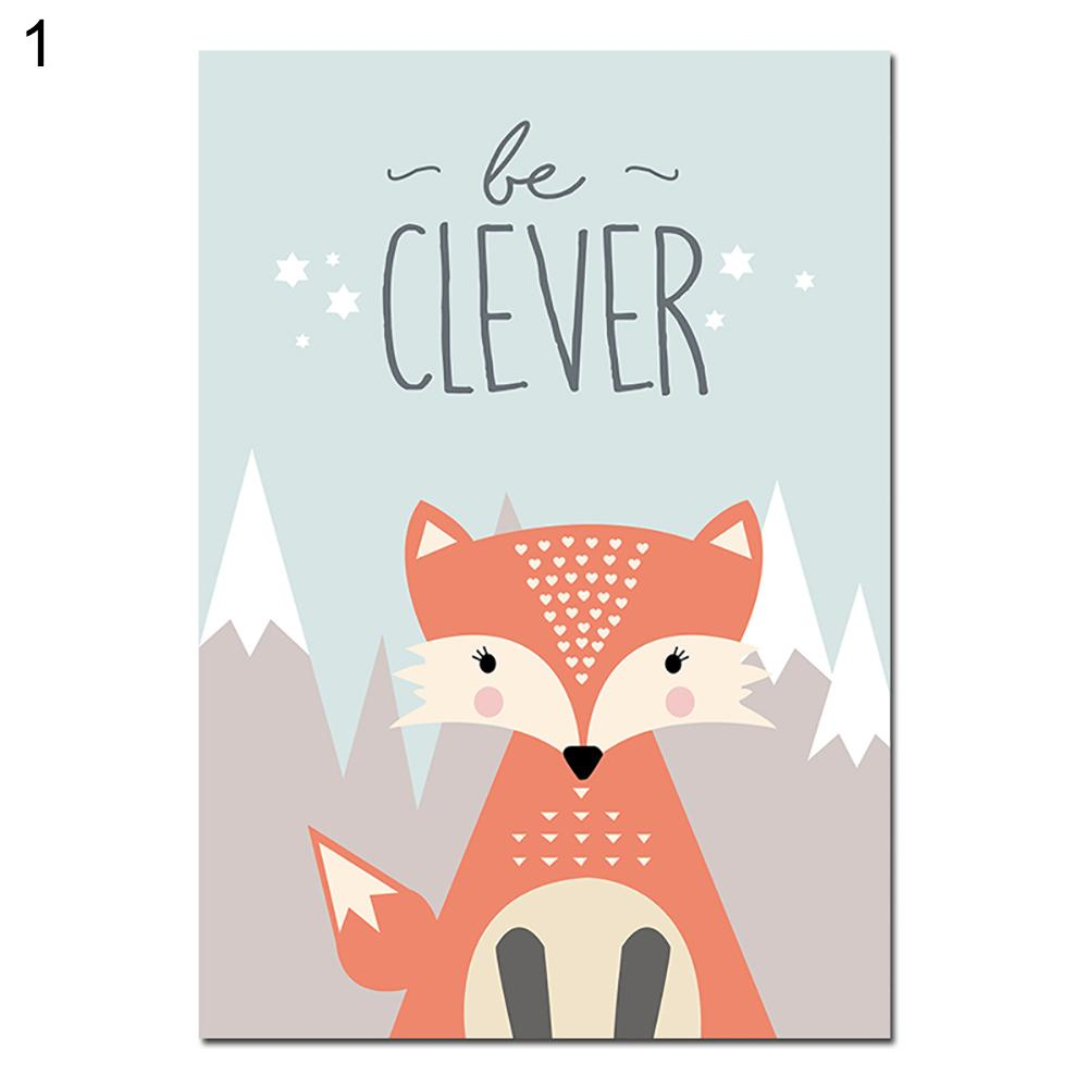 Lovely Cartoon Fox Owl Deer Nordic Canvas Painting Art Print Poster Picture Wall Baby Room Children Bedroom Home Decoration gold metal duvar saati