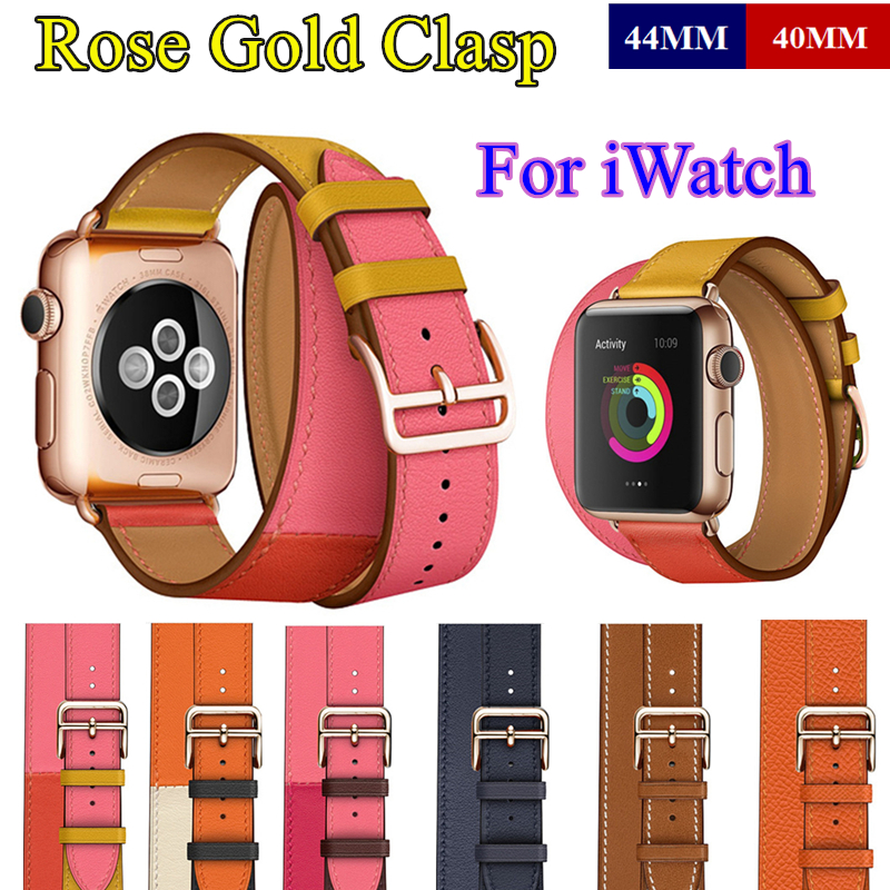 Rose Gold Buckle For Apple Watch Band Series 6 5 4 3 2 1 Se 44 40mm 42 38mm Swift Leather Double Tour Strap Bracelet For Iwatch Watchbands Aliexpress