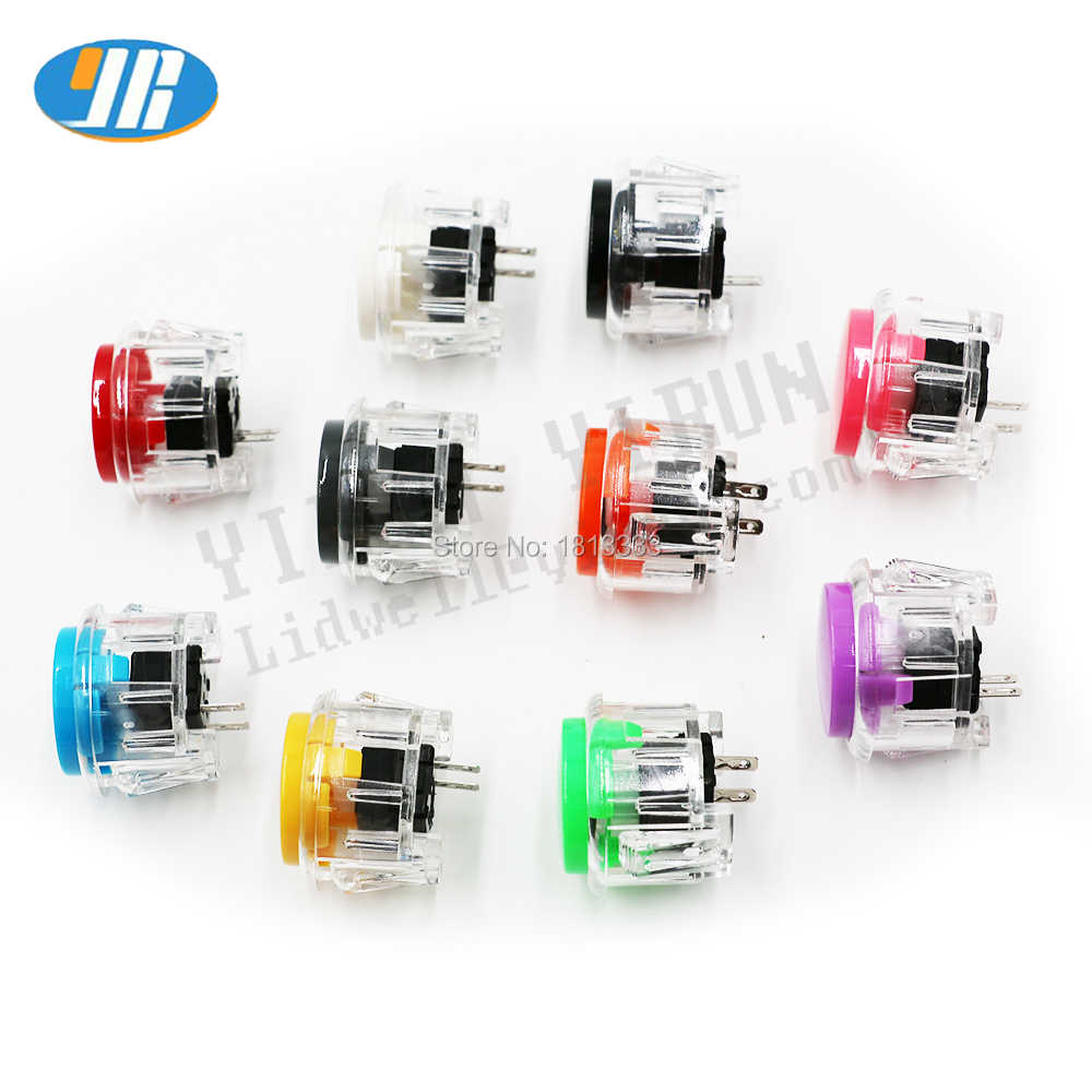 10pcs/lot Transparent Arcade Button 30mm Push Button Replace SANWA OBSF-30 OBSN-30 OBSC-30 JAMMA