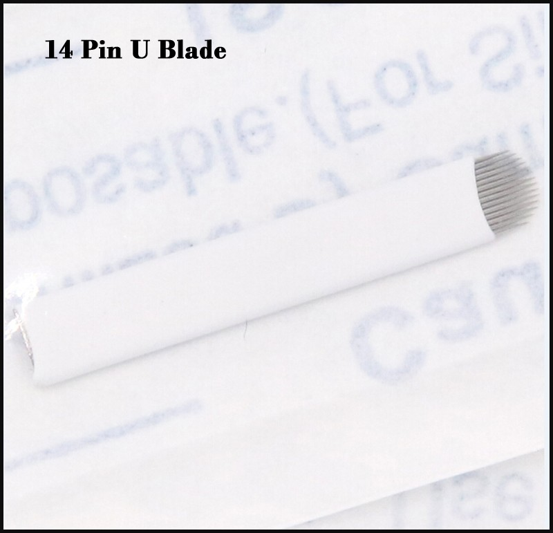 100 pcs 14 pin U makeup blade microblading needles u 14 pin permanent makeup eyebrow tattoo needles with Lot No. Expiry Date 2
