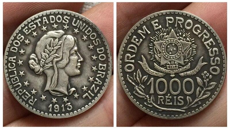 1913 Бразилия 1000 Reis Монеты Скопируйте Бесплатная доставка