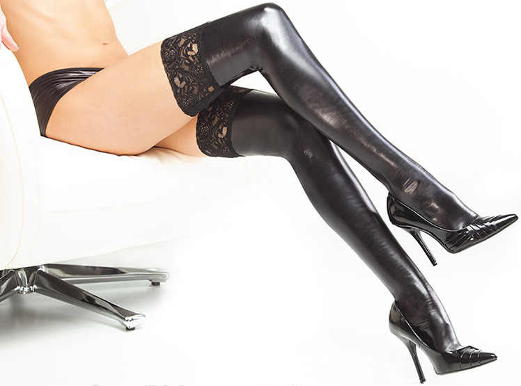 Sexy Lingerie Black Fetish Latex Stockings Faux Leather Wet Look Fetish Lace Up Socks Pole Dance Clothes Woman Hose Erotic