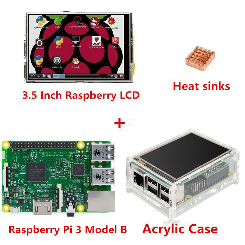 New Raspberry Pi 3 Model B Board + 3.5 TFT LCD Touch Screen Display + Acrylic Case Kit + Heat sinks For Raspbery Pi 3 Diy Kit