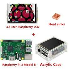 Wholesale New Raspberry Pi 3 Model B Board + 3.5 TFT LCD Touch Screen Display + Acrylic Case Kit + Heat sinks For Raspbery Pi 3 Diy Kit