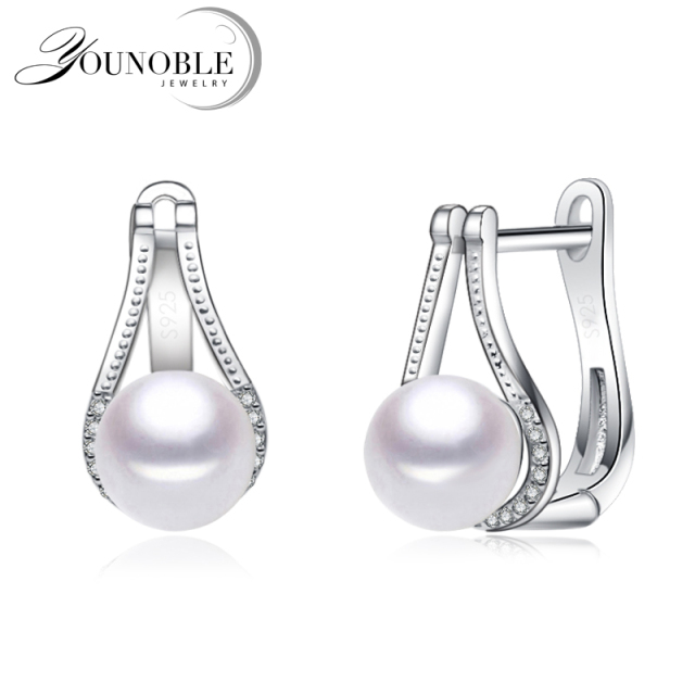 Top quality white pearl earrings for women,cute fashion girl best gift real 925 silver black freshwater pearl earrings jewelry