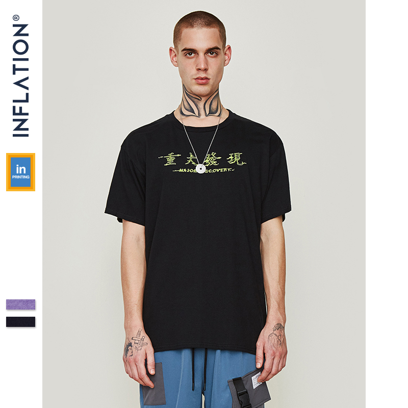 INFLATION 2019 New Arrivals Microscope Graphic Tees Cotton T-shirt Men Summer Black T-shirts Printing Couple Tshirt 9130S