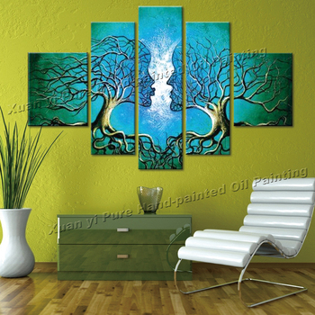 Handpainted 5 Piece Green Modern Abstract Oil Paintings On Canvas Wall Art Tree Of Life Pictures For Living Room Home Decoration