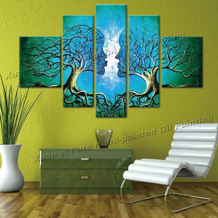 Pintado a mano 5 unidades verde moderno abstracto pinturas al óleo ...