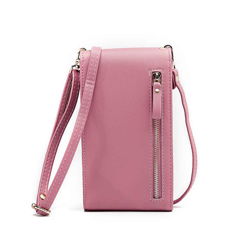Multi-Fungsi Kecil Bahu Tas untuk Wanita dengan Kartu Ponsel Saku PU Kulit Wanita Selempang Dompet Selempang Wanita tas