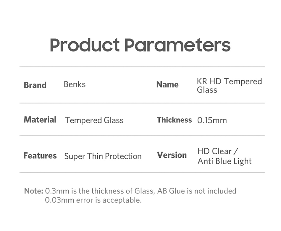 Benks Thin 0.15mm Tempered Glass For iPhone XS 5.8'' XS MAX 6.5'' XR 6.1HD Full Cover Screen Protector Anti Blue Ray Front Film (12)