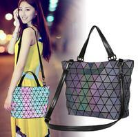 Kisumater Luminous bags Women Geometry lattic Sequins Mirror Saser Plain Folding Bags Casual Matt Color Bag Totes Free Shipping