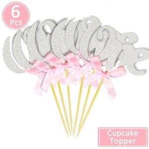 Image 4 - 6/10 Pcs גליטר נייר אחד Cupcake Toppers ראשון מסיבת יום הולדת קישוטי 1st יום הולדת שלי 1 שנה תינוק ילד ילדה וגינה