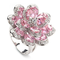 Fleure Esme Casual magnificent Pink Cubic Zirconia Jewelry Silver Plated Rings R549 sz#6 7 8 9 Romantic Style Women Jewelry Gift