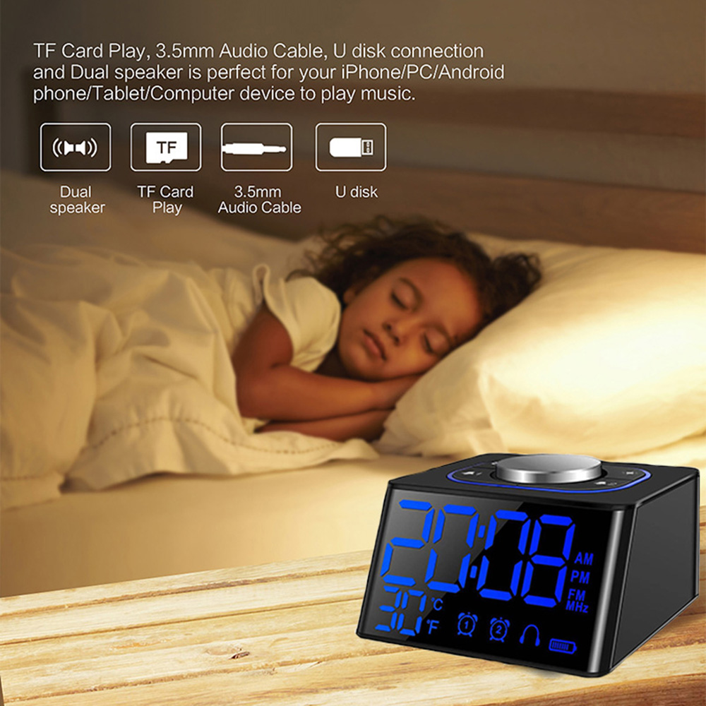 2018 New Creative LED Digital Display Snooze LCD Alarm Clock Thermometer Timer Calendar with FM Radio Receiving