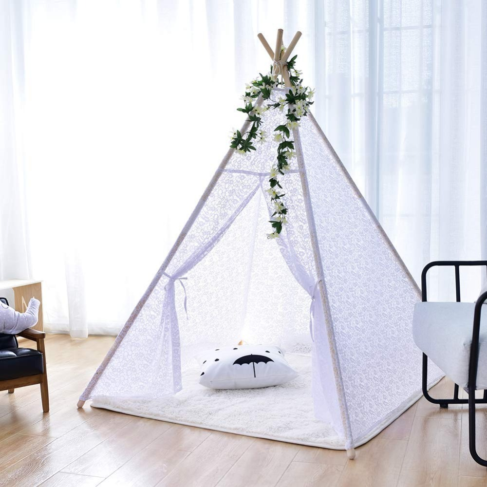 White Lace Teepee Girls Tipi Tent Teepee Tent for Girls Indian Playhouse Wigwam Tent  sc 1 st  shopping with free shipping 2019 - mytecno.me & White Lace Teepee Girls Tipi Tent Teepee Tent for Girls Indian ...