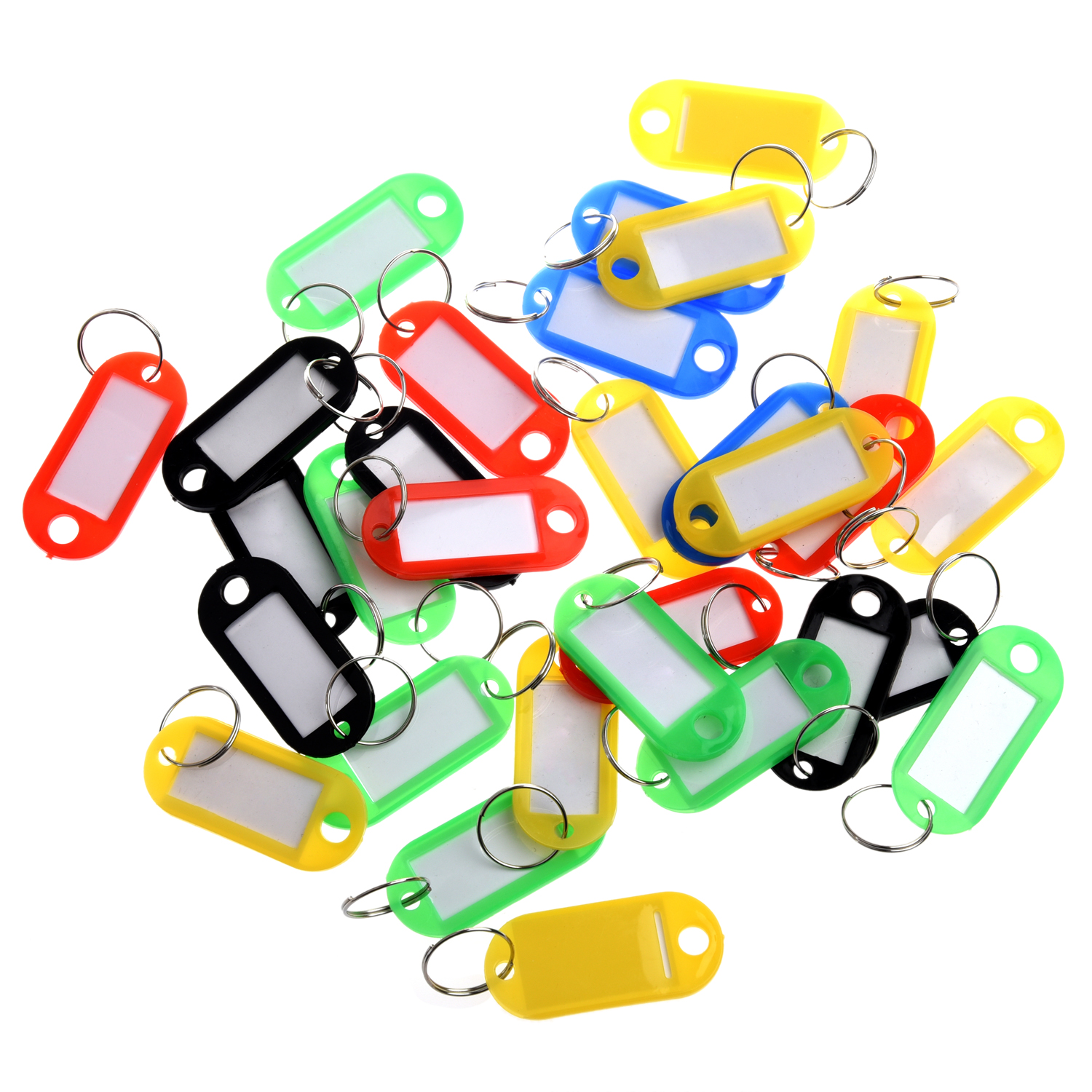 WCS-30 X Coloured Plastic Key Fobs Luggage ID Tags Labels with Name Cards, Ideal For Many Uses - Bunches Of Keys, L