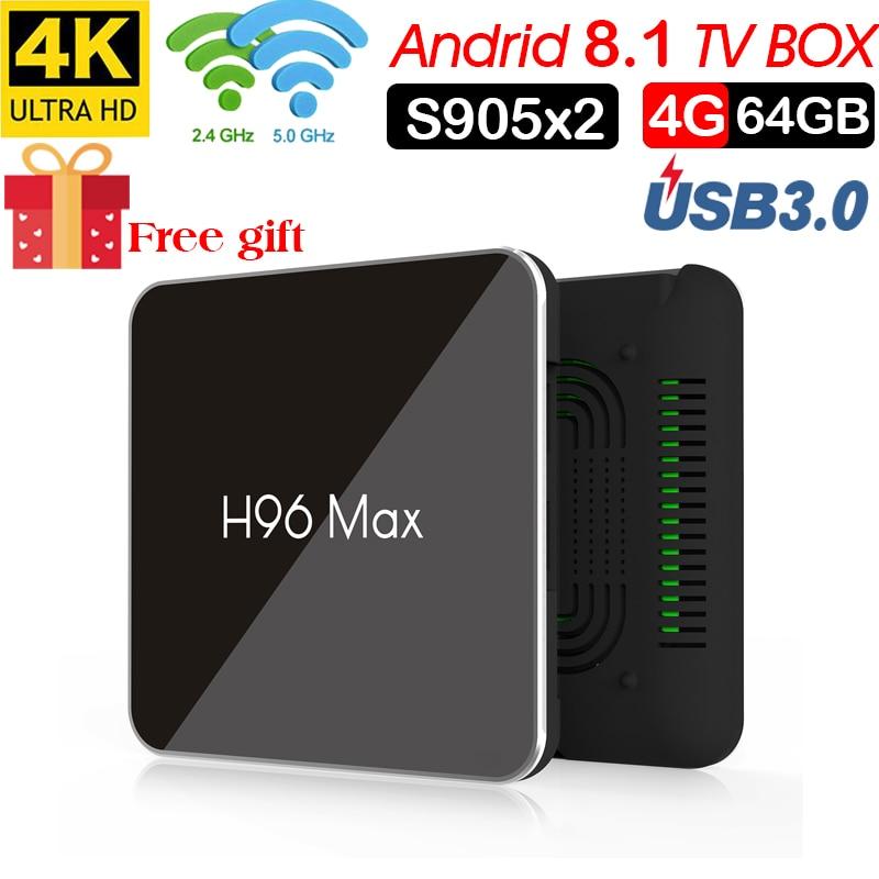 H96 Max X2 Android 8.1 TV BOX Amlogic S905x2 LPDDR4 4GB 32GB Quad Core 2,4G/5G wifi H.265 4K Smart media player H96MAX PK X96