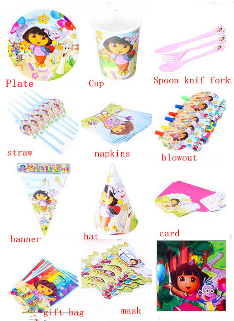 New childrens birthday party decoration favors dora strawgift bags
