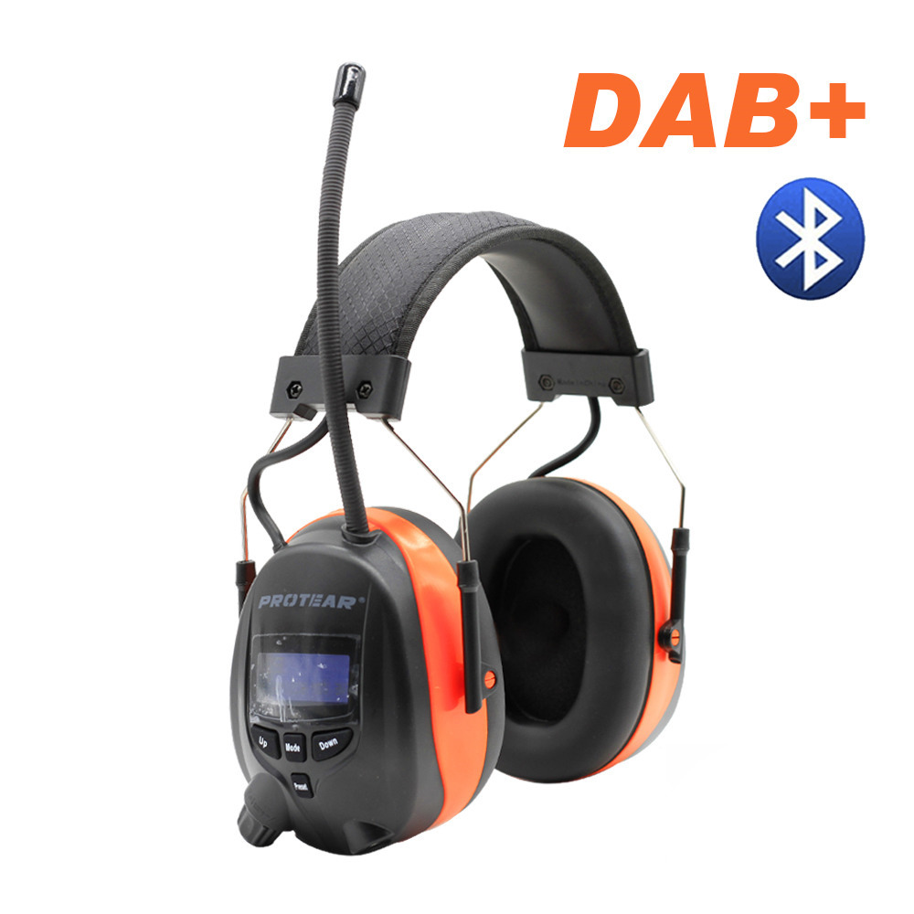Protear DAB+/DAB/FM Radio Hearing Protector 25dB Lithium Battery Earmuffs Electronic Bluetooth Headphone ProtectionProtear DAB+/DAB/FM Radio Hearing Protector 25dB Lithium Battery Earmuffs Electronic Bluetooth Headphone Protection