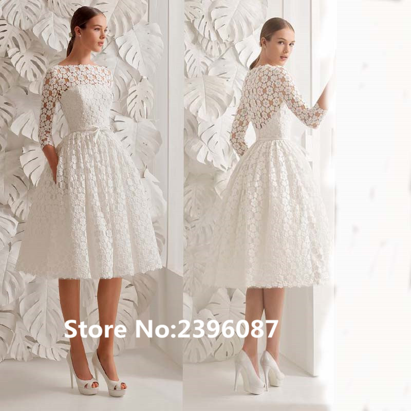 White Lace Scoop Neck A Line Short Prom Dress With Jackets Knee Length Three Quarter Sleeve