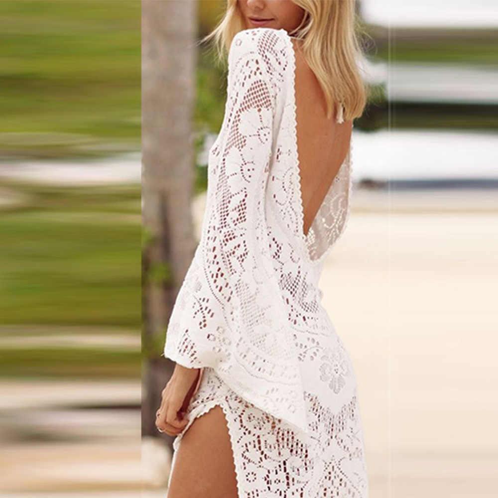 Пляжное платье с открытой спиной s-xl платье с разрезом сексуальное длинное белое кружевное бикини с вырезом Макси