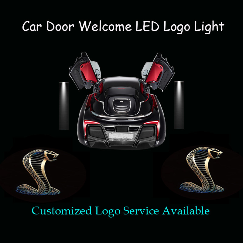 2x 3D Cobra Logo Car Door Welcome Ghost Shadow Spotlight Laser Projector LED Light for Ford Mustang Shelby (1318) 2 x wireless led car door logo projector welcome ghost shadow light for suzuki swift sx4 s cross jimmy alto celerio grand vitara