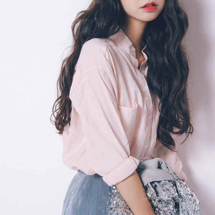 Spring Summer Solid Shirt Sunscreen Casual Lapel Female Blusas Women Tops Blouses Ladies Long Sleeve Women Shirt