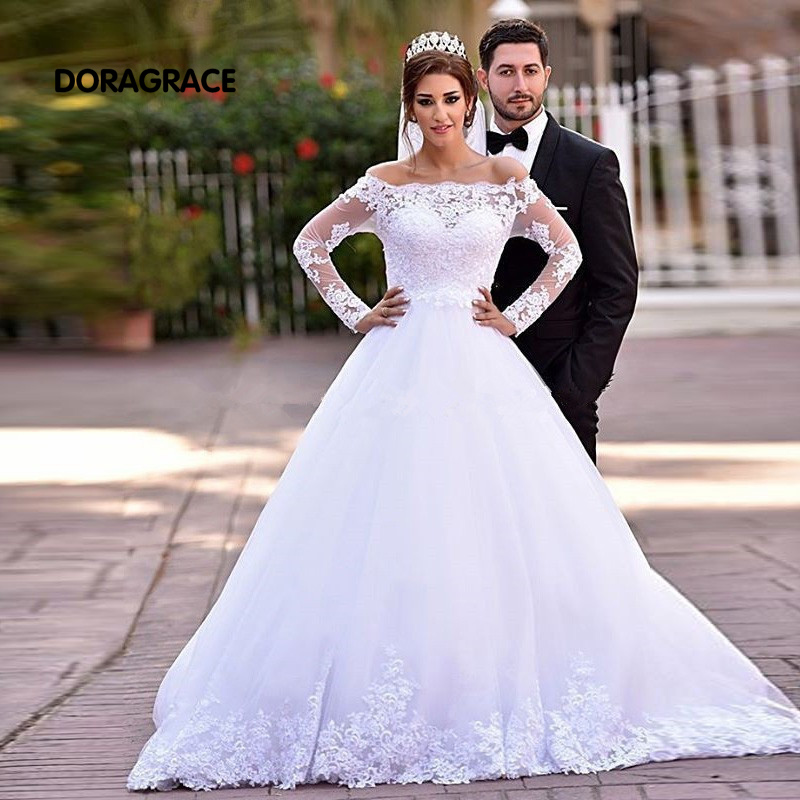 New Arrival Glamorous Applique Lace A Line Long Sleeve Wedding Dresses Designer Wedding Gowns DG0072