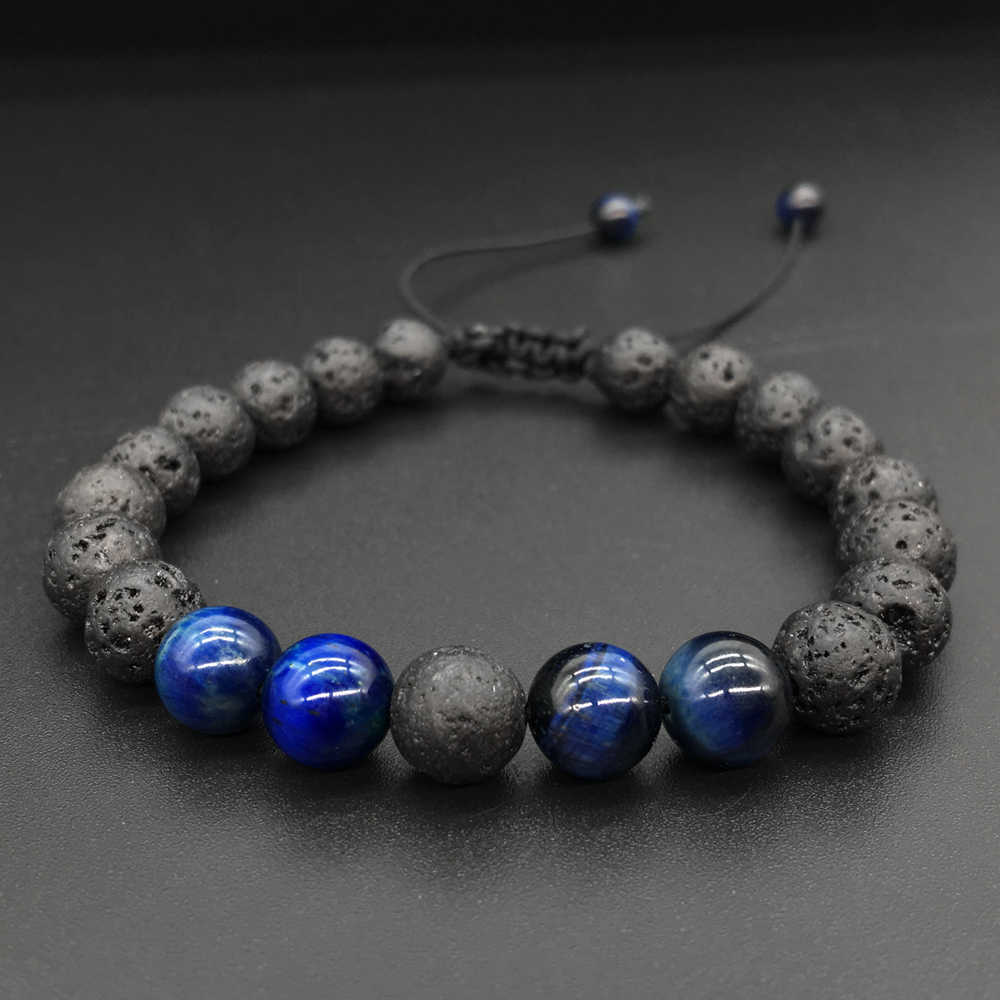 2019 Adjustable Lava Rock Blue Tiger Stone Essential Oil Diffuser Bracelet Braided Rope Stone Yoga Beads Bracelets for Men Women